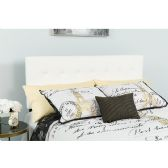 Lennox Tufted Upholstered King Size Headboard in White Vinyl - Headboards