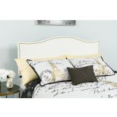 Lexington Upholstered King Size Headboard with Accent Nail Trim in White Fabric - Headboards