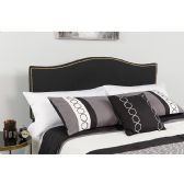 Lexington Upholstered Queen Size Headboard with Accent Nail Trim in Black Fabric - Headboards