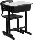 Adjustable Height Student Desk and Chair with Black Pedestal Frame - Student