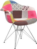 Alonza Series Milan Patchwork Fabric Chair with Chrome Base - Accent