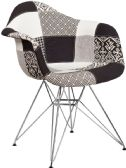 Alonza Series Turin Patchwork Fabric Chair with Chrome Base - Accent