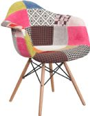 Alonza Series Milan Patchwork Fabric Chair with Wood Base - Accent