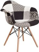 Alonza Series Turin Patchwork Fabric Chair with Wood Base - Accent