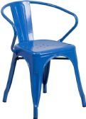 Blue Metal Indoor-Outdoor Chair with Arms - Dining