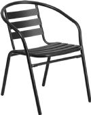 Black Metal Restaurant Stack Chair with Aluminum Slats - Dining