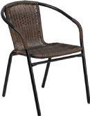 Dark Brown Rattan Indoor-Outdoor Restaurant Stack Chair - Dining