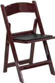 HERCULES Series 1000 lb. Capacity Red Mahogany Resin Folding Chair with Black Vinyl Padded Seat - Folding