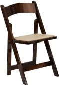 HERCULES Series Fruitwood Wood Folding Chair with Vinyl Padded Seat - Folding