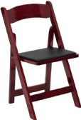 HERCULES Series Mahogany Wood Folding Chair with Vinyl Padded Seat - Folding