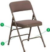 HERCULES Series Curved Triple Braced & Double-Hinged Beige Fabric Metal Folding Chair - Folding