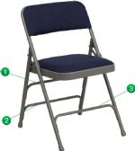 HERCULES Series Curved Triple Braced & Double-Hinged Navy Fabric Metal Folding Chair - Folding