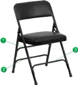 HERCULES Series Curved Triple Braced & Double-Hinged Black Vinyl Fabric Metal Folding Chair - Folding