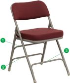 HERCULES Series Premium Curved Triple Braced & Double-Hinged Burgundy Fabric Metal Folding Chair - Folding