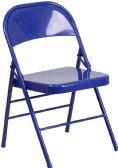 HERCULES COLORBURST Series Cobalt Blue Triple Braced & Double-Hinged Metal Folding Chair - Folding