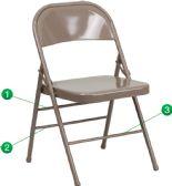 HERCULES Series Triple Braced & Double-Hinged Beige Metal Folding Chair - Folding