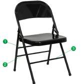 HERCULES Series Triple Braced & Double-Hinged Black Metal Folding Chair - Folding