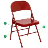 HERCULES Series Triple Braced & Double-Hinged Red Metal Folding Chair - Folding