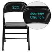 Personalized HERCULES Series Triple Braced & Double-Hinged Black Metal Folding Chair - Folding