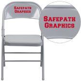 Personalized HERCULES Series Triple Braced & Double-Hinged Gray Metal Folding Chair - Folding