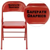 Personalized HERCULES Series Triple Braced & Double-Hinged Red Metal Folding Chair - Folding