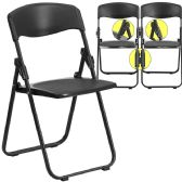 HERCULES Series 880 lb. Capacity Heavy Duty Black Plastic Folding Chair with Built-in Ganging Brackets - Folding