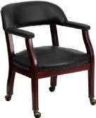 Black Vinyl Luxurious Conference Chair with Accent Nail Trim and Casters - Guest