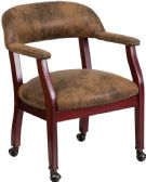 Bomber Jacket Brown Luxurious Conference Chair with Accent Nail Trim and Casters - Lounge