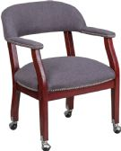 Gray Fabric Luxurious Conference Chair with Accent Nail Trim and Casters - Guest