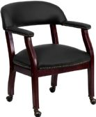 Black Top Grain Leather Conference Chair with Accent Nail Trim and Casters - Lounge