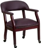 Burgundy Top Grain Leather Conference Chair with Accent Nail Trim and Casters - Lounge