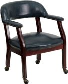 Navy Vinyl Luxurious Conference Chair with Accent Nail Trim and Casters - Lounge