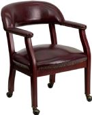 Oxblood Vinyl Luxurious Conference Chair with Accent Nail Trim and Casters - Lounge