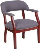 Gray Fabric Luxurious Conference Chair with Accent Nail Trim - Guest