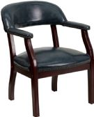 Navy Vinyl Luxurious Conference Chair with Accent Nail Trim - Lounge