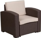 Chocolate Brown Faux Rattan Chair with All-Weather Beige Cushion - Lounge