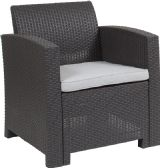 Dark Gray Faux Rattan Chair with All-Weather Light Gray Cushion - Lounge