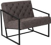 HERCULES Madison Series Retro Gray Leather Tufted Lounge Chair - Lounge