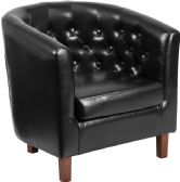 HERCULES Cranford Series Black Leather Tufted Barrel Chair - Lounge