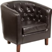 HERCULES Cranford Series Brown Leather Tufted Barrel Chair - Lounge