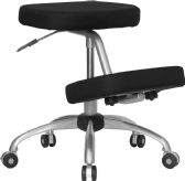Mobile Ergonomic Kneeling Chair with Silver Frame in Black Fabric - Alternative