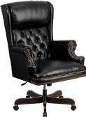High Back Traditional Tufted Black Leather Executive Swivel Chair with Arms - Executive
