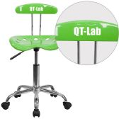 Personalized Vibrant Apple Green and Chrome Swivel Task Chair with Tractor Seat - Task
