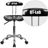 Personalized Vibrant Black and Chrome Swivel Task Chair with Tractor Seat - Task