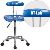 Personalized Vibrant Bright Blue and Chrome Swivel Task Chair with Tractor Seat - Task