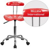Personalized Vibrant Cherry Tomato and Chrome Swivel Task Chair with Tractor Seat - Task