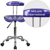 Personalized Vibrant Deep Blue and Chrome Swivel Task Chair with Tractor Seat - Task