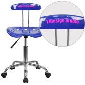 Personalized Vibrant Nautical Blue and Chrome Swivel Task Chair with Tractor Seat - Task