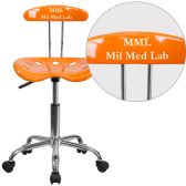 Personalized Vibrant Orange and Chrome Swivel Task Chair with Tractor Seat - Task