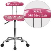 Personalized Vibrant Pink and Chrome Swivel Task Chair with Tractor Seat - Task